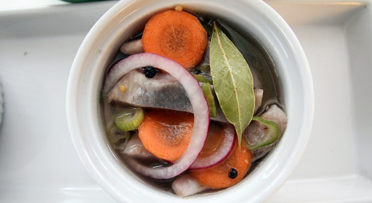picture of pickled herring pickled in a glass jar