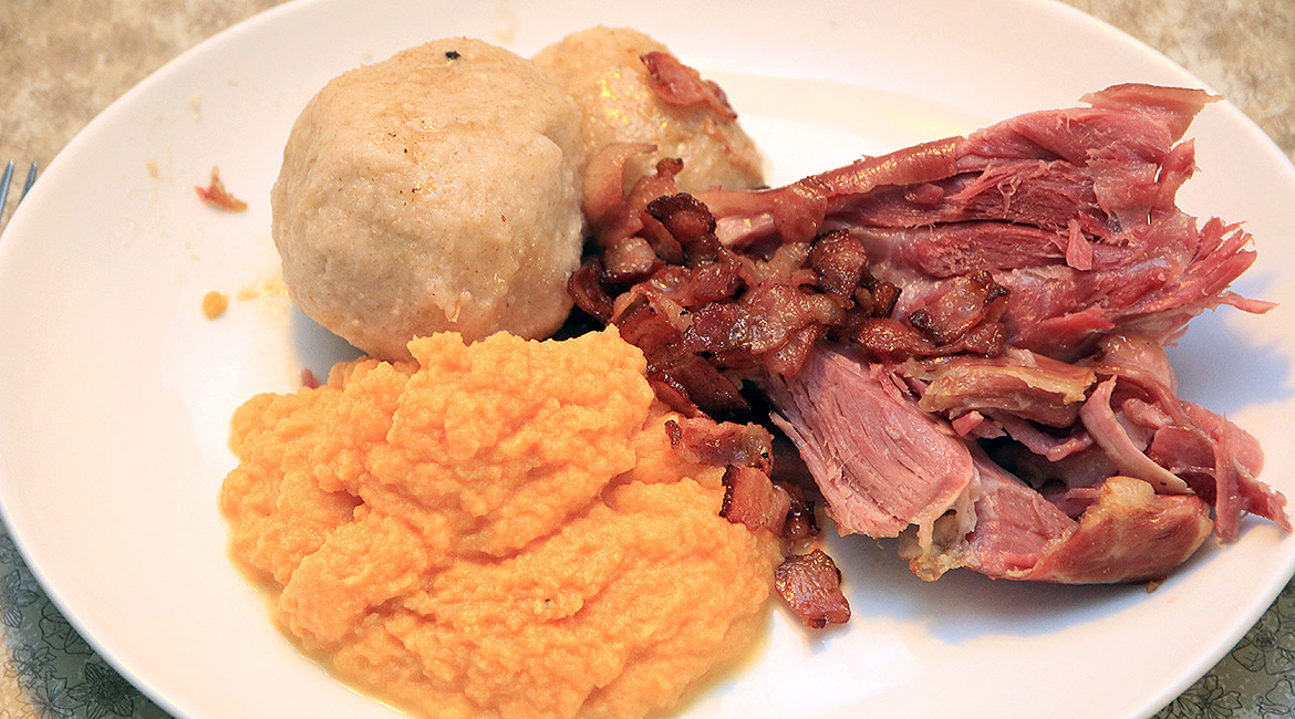 A plate of raspeball, sweed mash and salted meat